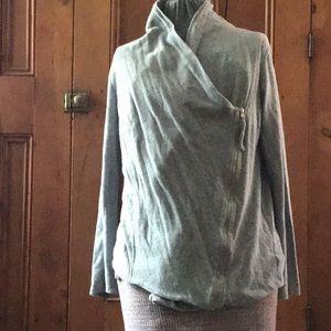 Maternity sweatshirt asymmetrical zipper cardigan